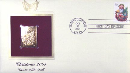 #3537 34¢ Christmas : Santa with light brown cape - Gold-Foil First Day Cover