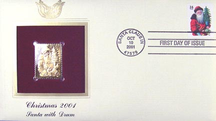 #3539 34¢ Christmas : Santa with red cape - Gold-Foil First Day Cover