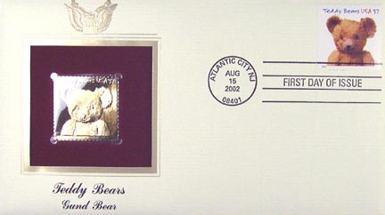 #3655 37¢ Gund Bear - Gold-Foil First Day Cover MAIN