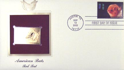 #3661 37¢ Red Bat - Gold-Foil First Day Cover