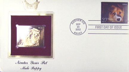 #3671 37¢ Puppy - Gold-Foil First Day Cover