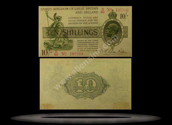 Great Britain Banknote, 10 Shillings, ND (Oct 1919), P#356 MAIN