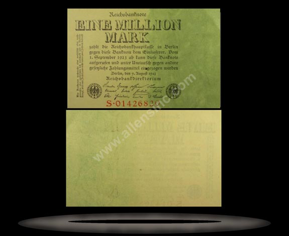 Germany Banknote, 1 Million Mark, 9.8.1923, P#101