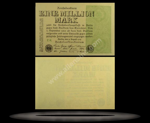Germany Banknote, 1 Million Mark, 9.8.1923, P#102b
