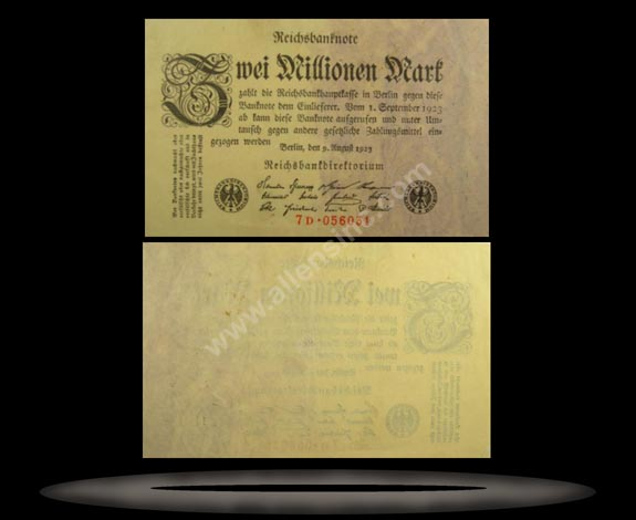 Germany Banknote, 2 Millionen Mark, 9.8.1923, P#103