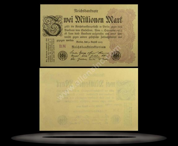 Germany Banknote, 2 Millionen Mark, 9.8.1923, P#104b