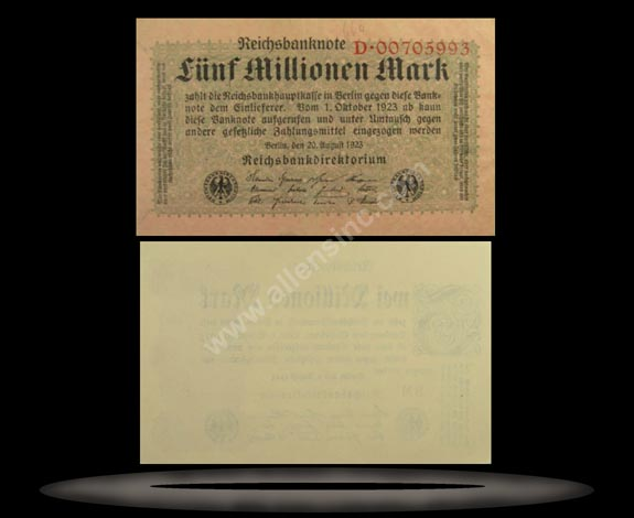Germany Banknote, 5 Millionen Mark, 20.8.1923, P#105