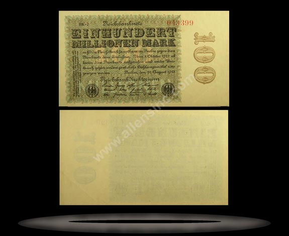 Germany Banknote, 100 Millionen Mark, 22.8.1923, P#107e