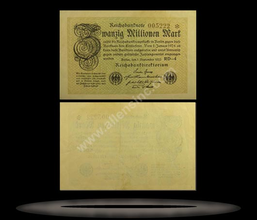 Germany Banknote, 20 Millionen Mark, 1.9.1923, P#108c
