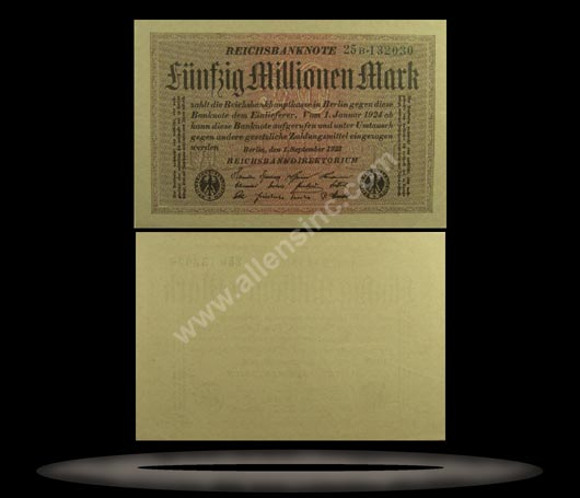 Germany Banknote, 50 Millionen Mark, 1.9.1923, P#109f