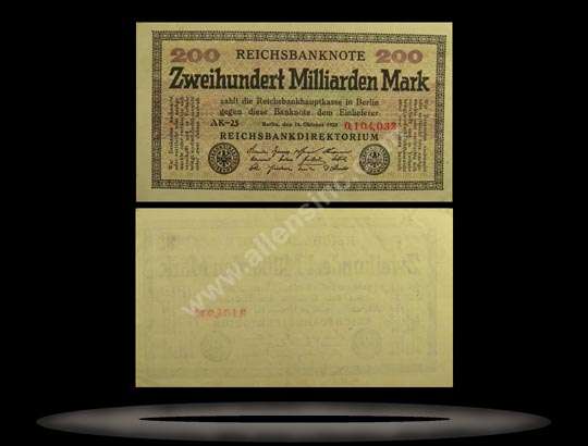 Germany Banknote, 200 Milliarden Mark, 15.10.1923, P#121a