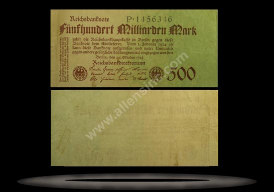 Germany Banknote, 500 Milliarden Mark, 26.10.1923, P#127a