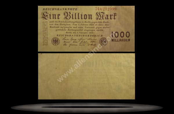 Germany Banknote, 1 Billionen Mark, 1.11.1923, P#129