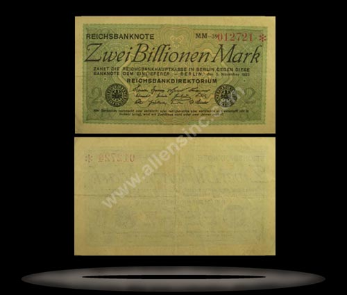 Germany Banknote, 2 Billionen Mark, 5.11.1923, P#135b