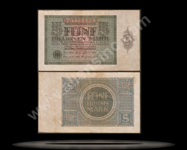 Germany Banknote, 5 Billionen Mark, 15.3.1924, P#141