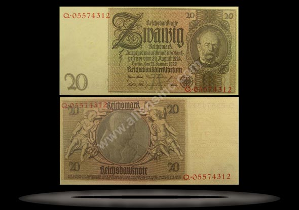 Germany Banknote, 20 Reichsmark, 22.1.1929, P#181a