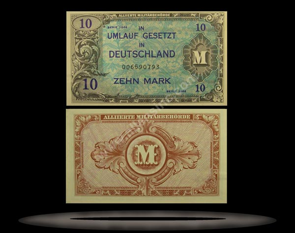 Allied Occupation of Germany Banknote, 10 Mark, 1944, P#194a