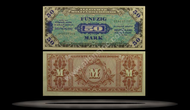 Allied Occupation of Germany Banknote, 50 Mark, 1944, P#196a