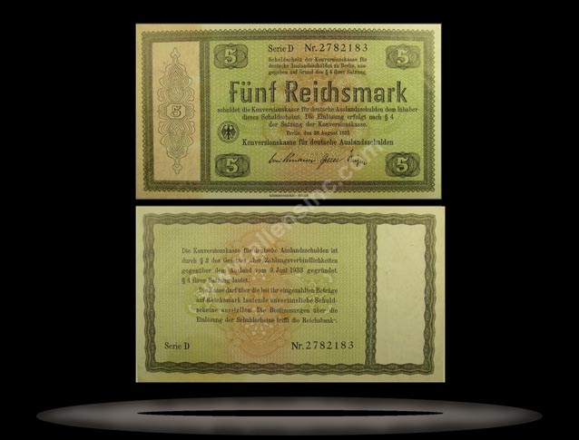 Germany Banknote, 5 Reichsmark, 28.8.1933, P#199