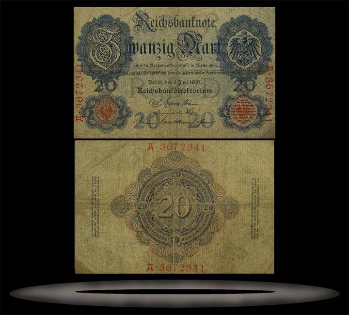 Germany Banknote, 20 Mark, 8.6.1907, P#28