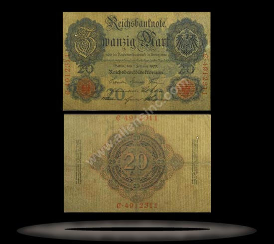 Germany Banknote, 20 Mark, 7.2.1908, P#31