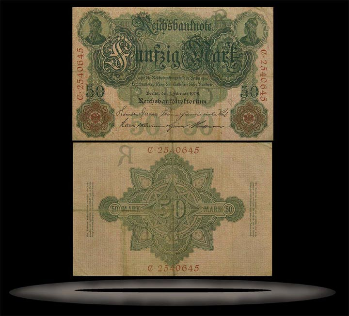 Germany Banknote, 50 Mark, 7.2.1908, P#32