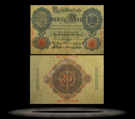 Germany Banknote, 20 Mark, 21.4.1910, P#40a