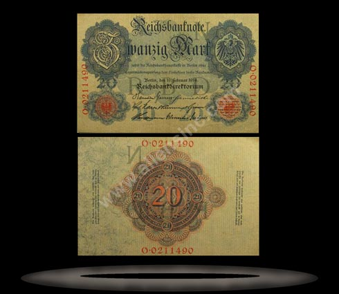 Germany Banknote, 20 Mark, 19.2.1914, P#46b