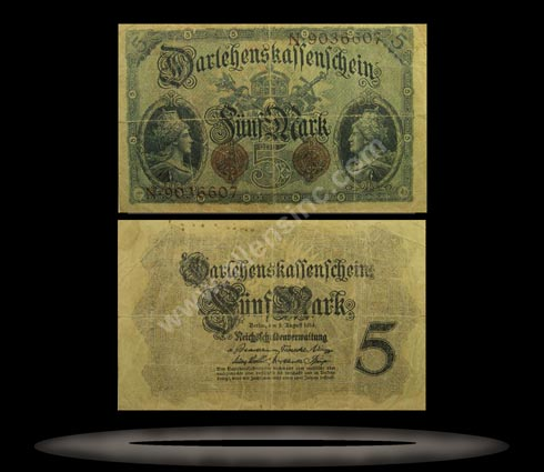 Germany Banknote, 5 Mark, 5.8.1914, P#47b