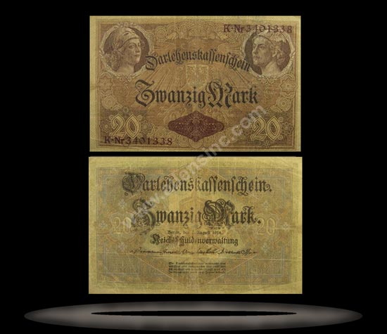 Germany Banknote, 20 Mark, 5.8.1914, P#48a