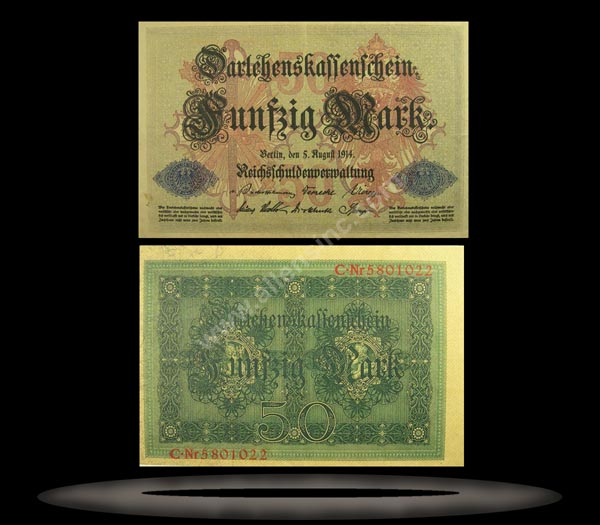 Germany Banknote, 50 Mark, 5.8.1914, P#49b