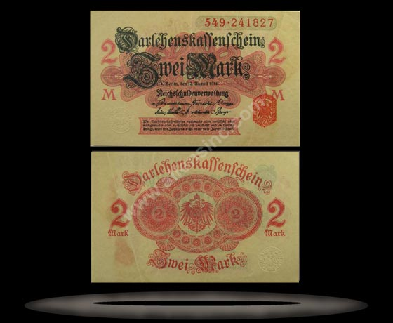 Germany Banknote, 2 Mark, 12.8.1914, P#53