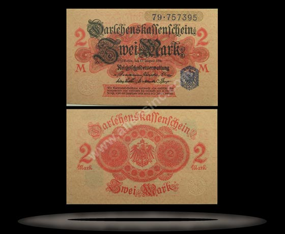 Germany Banknote, 2 Mark, 12.8.1914, P#55