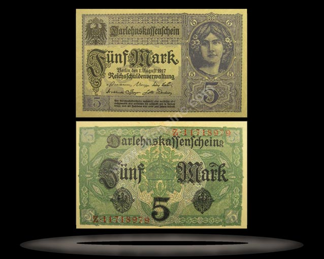 Germany Banknote, 5 Mark, 1.8.1917, P#56b