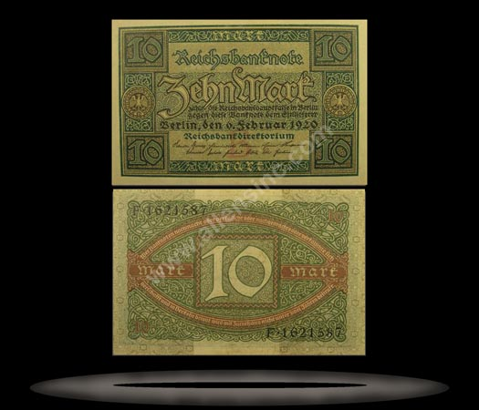 Germany Banknote, 10 Mark, 6.2.1920, P#67a
