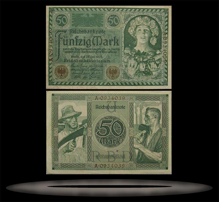 Germany Banknote, 50 Mark, 23.7.1920, P#68