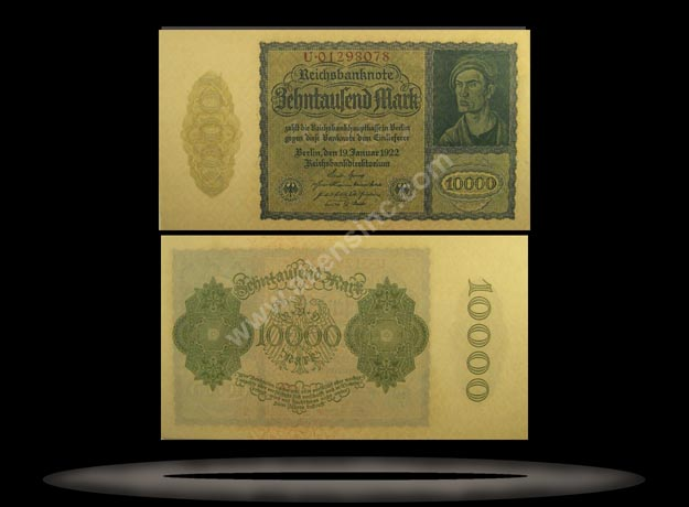 Germany Banknote, 10,000 Mark, 19.1.1922, P#72