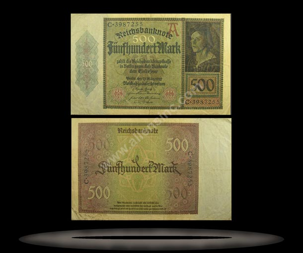 Germany Banknote, 500 Mark, 27.3.1922, P#73