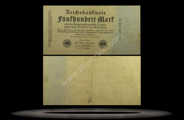 Germany Banknote, 500 Mark, 7.7.1922, P#74b