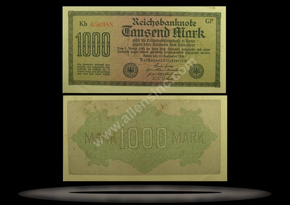 Germany Banknote, 1000 Mark, 15.9.1922, P#76d