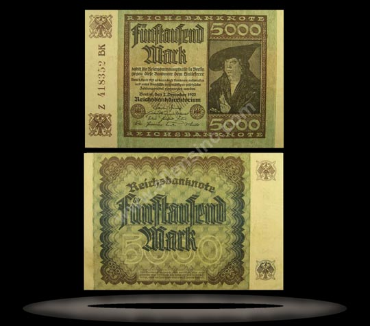 Germany Banknote, 5000 Mark, 2.12.1922, P#81d