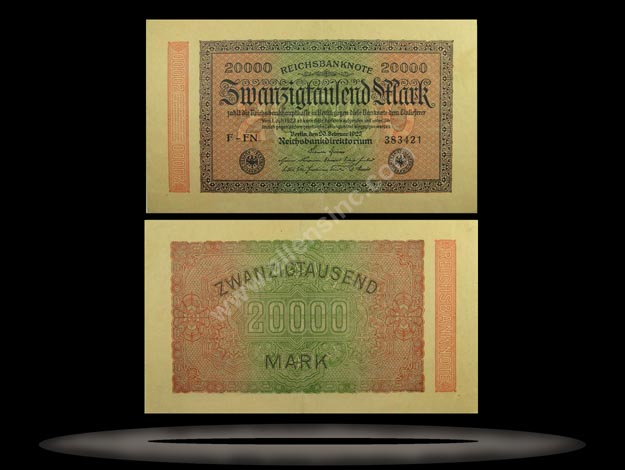 Germany Banknote, 20,000 Mark, 20.2.1923, P#85f