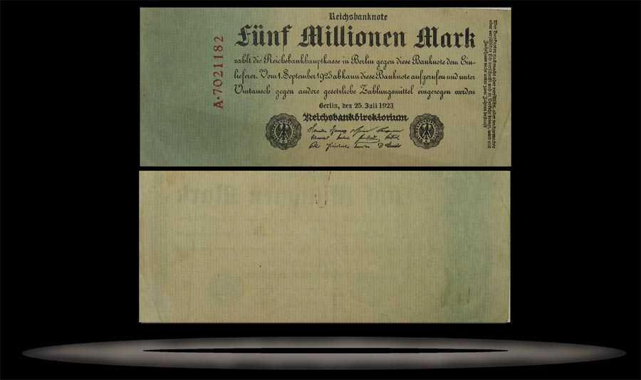 Germany Banknote, 5 Million Marks, 25.7.1923, P#95