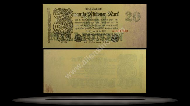 Germany Banknote, 20 Millionen Mark, 25.7.1923, P#97b