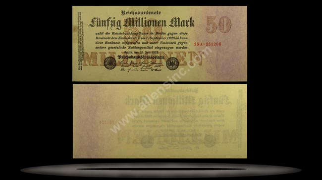 Germany Banknote, 50 Millionen Mark, 25.7.1923, P#98a