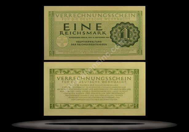 Military Payment Certificate, Germany Banknote, 1 Reichsmark, 15.9.1944, P#38 MAIN