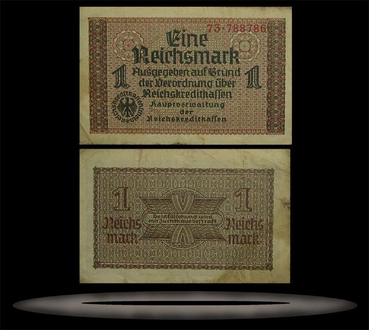 Occupied Territories, Germany Banknote, 1 Reichsmark, ND (1940-45), P#136a