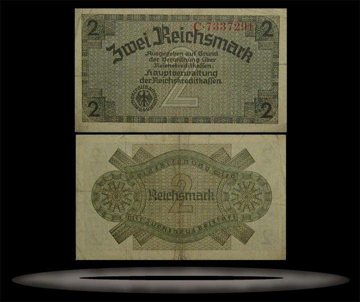 Occupied Territories, Germany Banknote, 2 Reichsmark, ND (1940-45), P#137a
