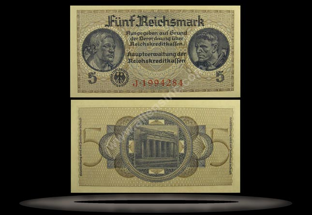 Occupied Territories, Germany Banknote, 5 Reichsmark, ND (1940-45), P#138b