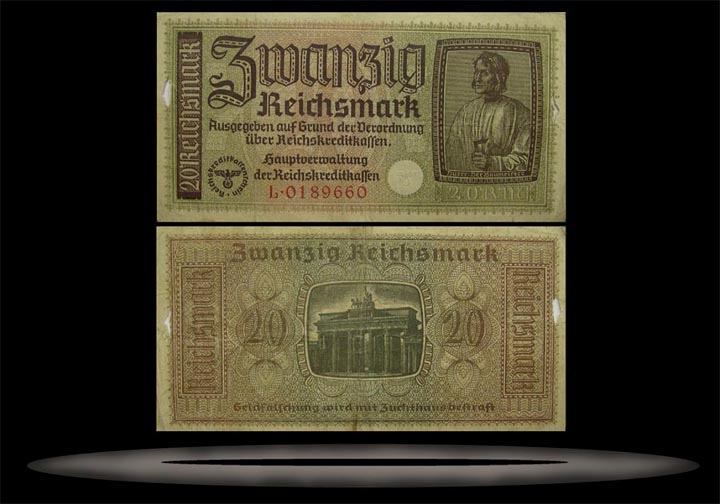 Occupied Territories, Germany Banknote, 20 Reichsmark, ND (1940-45), P#139